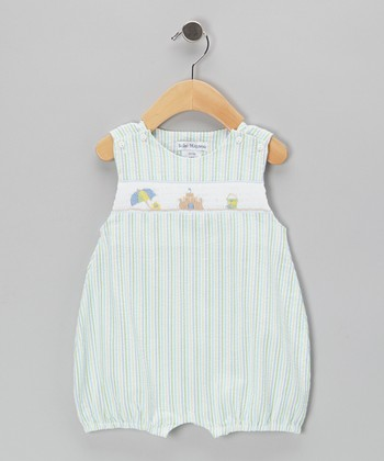 Green Beach Seersucker Smocked Bubble Romper - Infant