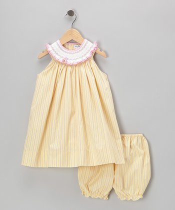 Yellow Stripe Smocked Yoke Dress & Bloomers - Infant