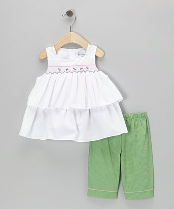 White Smocked Tiered Tunic & Green Capri Pants - Infant