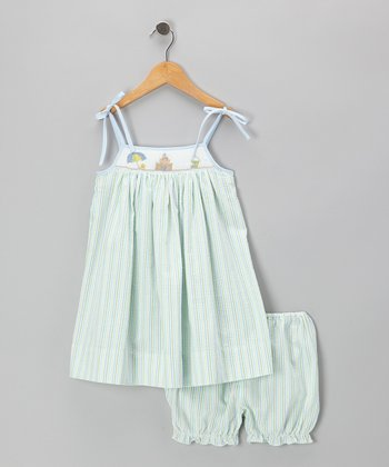 Green Beach Seersucker Smocked Dress & Bloomers - Infant