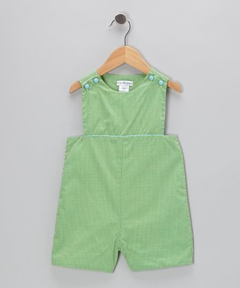 Green Gingham Shortalls - Toddler