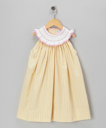 Yellow Stripe Smocked Yoke Dress - Toddler
