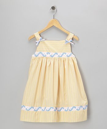 Yellow Stripe Ribbon Dress - Toddler