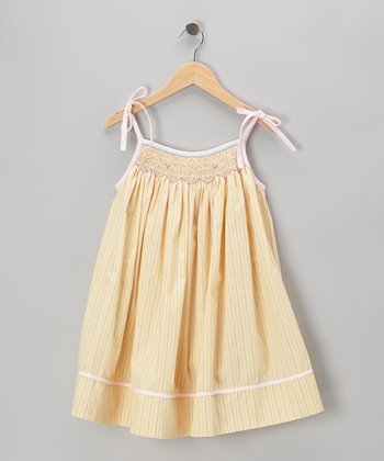 Yellow Stripe Smocked Swing Dress - Toddler