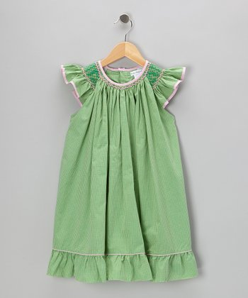 Green Gingham Smocked Angel-Sleeve Dress - Toddler