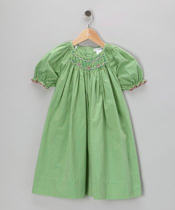 Green Gingham Bishop Dress - Toddler