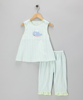 Green Whale Seersucker Tunic & Capri Pants - Toddler