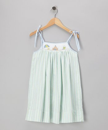 Green Beach Seersucker Smocked Dress - Toddler