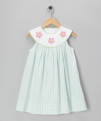 Green Seersucker Flower Yoke Dress - Toddler