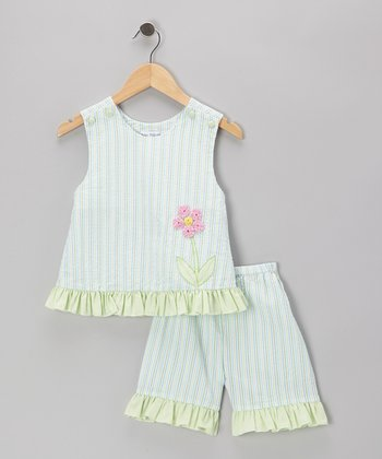 Green Flower Ruffle Seersucker Dress & Capri Pants - Toddler