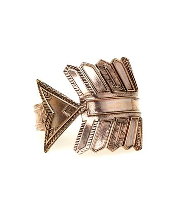 Rose Gold Antique Accent Arrow Cuff