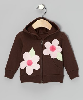 Brown & Pink Kiki Flower Zip-Up Hoodie - Infant & Toddler
