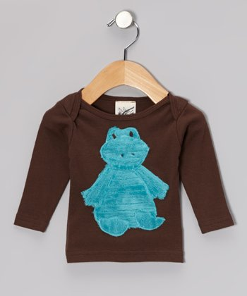 Brown Frog Long-Sleeve Lap-Neck Tee - Infant, Toddler & Boys