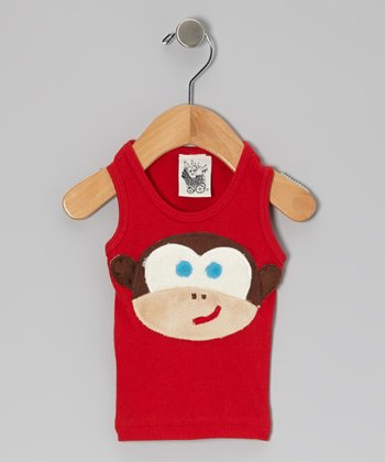Red Monkey Face Tank - Infant, Toddler & Kids