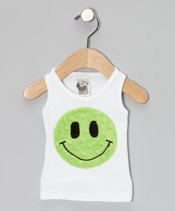 White & Green Smiley Face Tank - Infant & Toddler