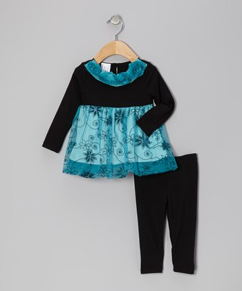 Black & Blue Floral Rosette Tunic & Leggings - Infant & Toddler