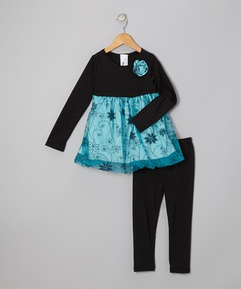 Black & Blue Floral Tunic & Leggings - Girls