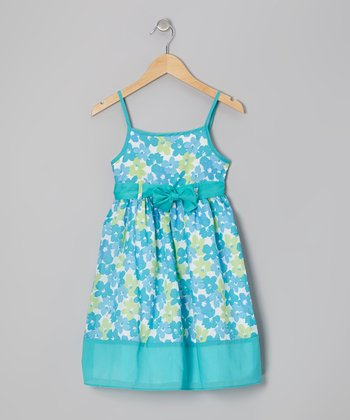 Turquoise Flower Dress - Girls