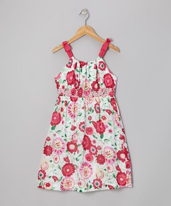 Fuchsia Floral Dress - Girls