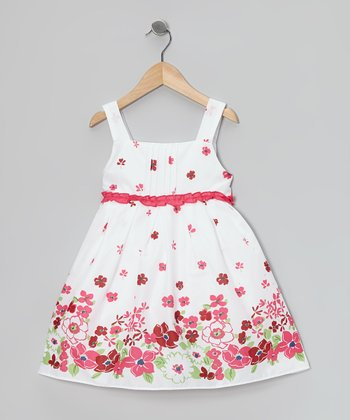 White & Fuchsia Flower Dress - Girls