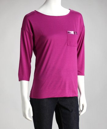 Fuchsia Scoop Neck Top