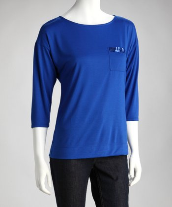 Royal Blue Scoop Neck Top