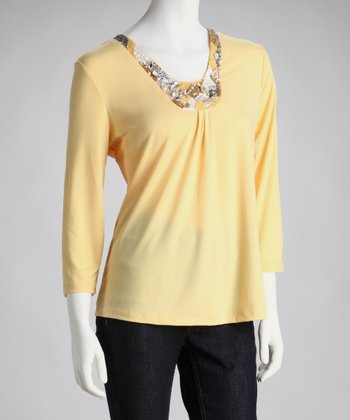 Yellow Embellished Top - Women