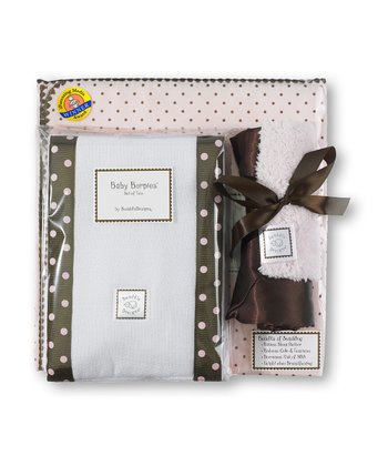 Pastel Pink & Brown Polka Dot Blanket Gift Set