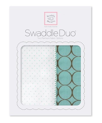 SeaCrystal Polka Dot & Mod Circle Swaddling Blanket Duo