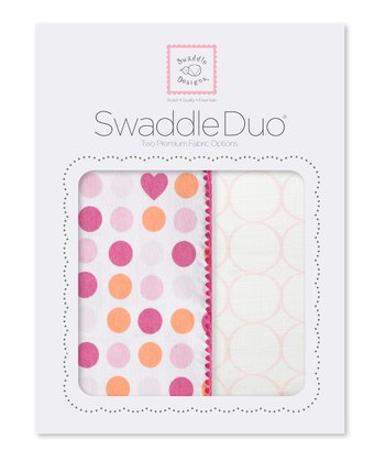 Pink Dots/Hearts & Mod Circle Swaddling Blanket Duo
