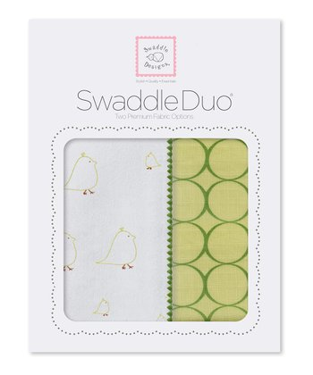 Pure Green Chickies & Mod Circle Swaddling Blanket Duo
