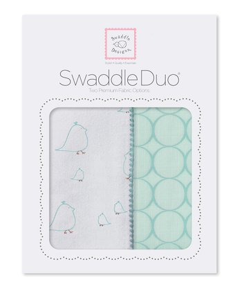 Turquoise Chickies & Mod Circle Swaddling Blanket Duo