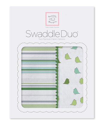 Pure Green Stripes & Little Chickies Swaddling Blanket Duo