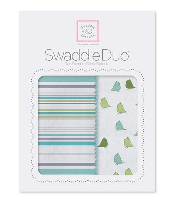 Turquoise Stripes & Little Chickies Swaddling Blanket Duo