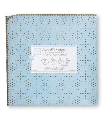 Pastel Blue & Taupe Gray Sparkler Ultimate Receiving Blanket