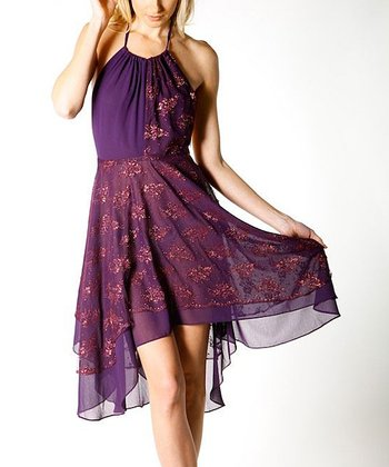 Plum Lace Overlay Dress - Women