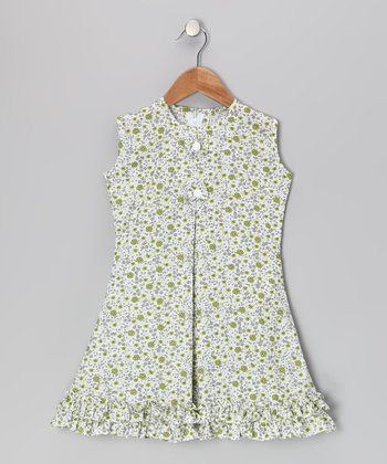 Green Floral & Bow Ruffle Sundress - Infant, Toddler & Girls