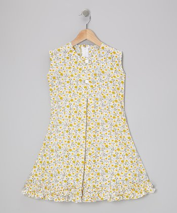 Yellow Floral & Bow Ruffle Sundress - Infant, Toddler & Girls