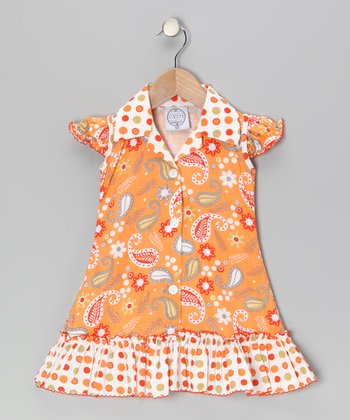 Orange Paisley & Polka Dot Sundress - Infant, Toddler & Girls