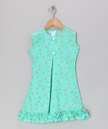 Green Butterfly & Bow Ruffle Sundress - Infant & Girls