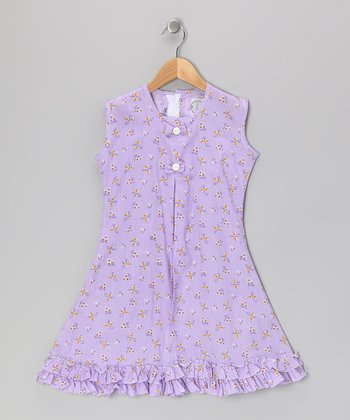 Purple Butterfly & Bow Ruffle Sundress - Infant, Toddler & Girls