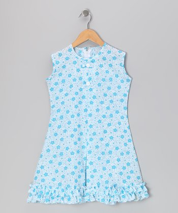 Blue Floral & Bow Ruffle Sundress - Infant, Toddler & Girls