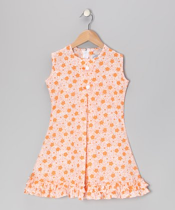 Orange Floral & Bow Ruffle Sundress - Infant, Toddler & Girls