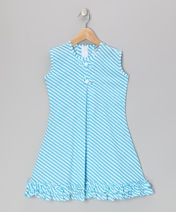 Blue Stripe Bow & Ruffle Sundress - Infant, Toddler & Girls