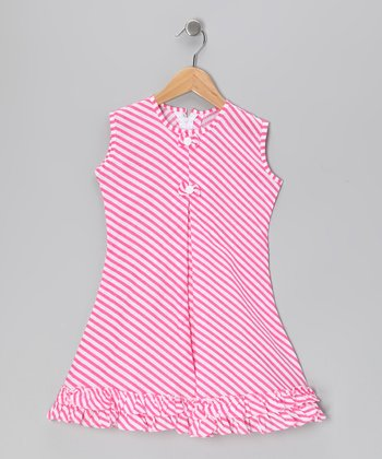 Pink Stripe Bow & Ruffle Sundress - Infant, Toddler & Girls