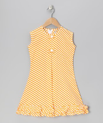 Yellow Stripe Bow & Ruffle Sundress - Infant, Toddler & Girls