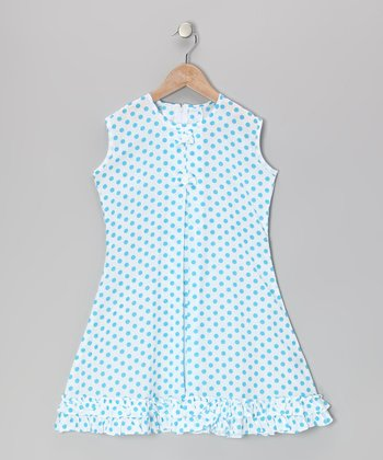 Blue Polka Dot Bow & Ruffle Sundress - Infant & Toddler