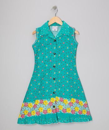 Green Floral Mod Sundress - Infant, Toddler & Girls