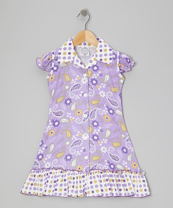 Purple & Green Bow Ruffle Sundress - Infant, Toddler & Girls