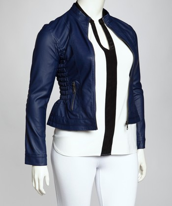 Dark Royal Blue Ruched Jacket - Plus